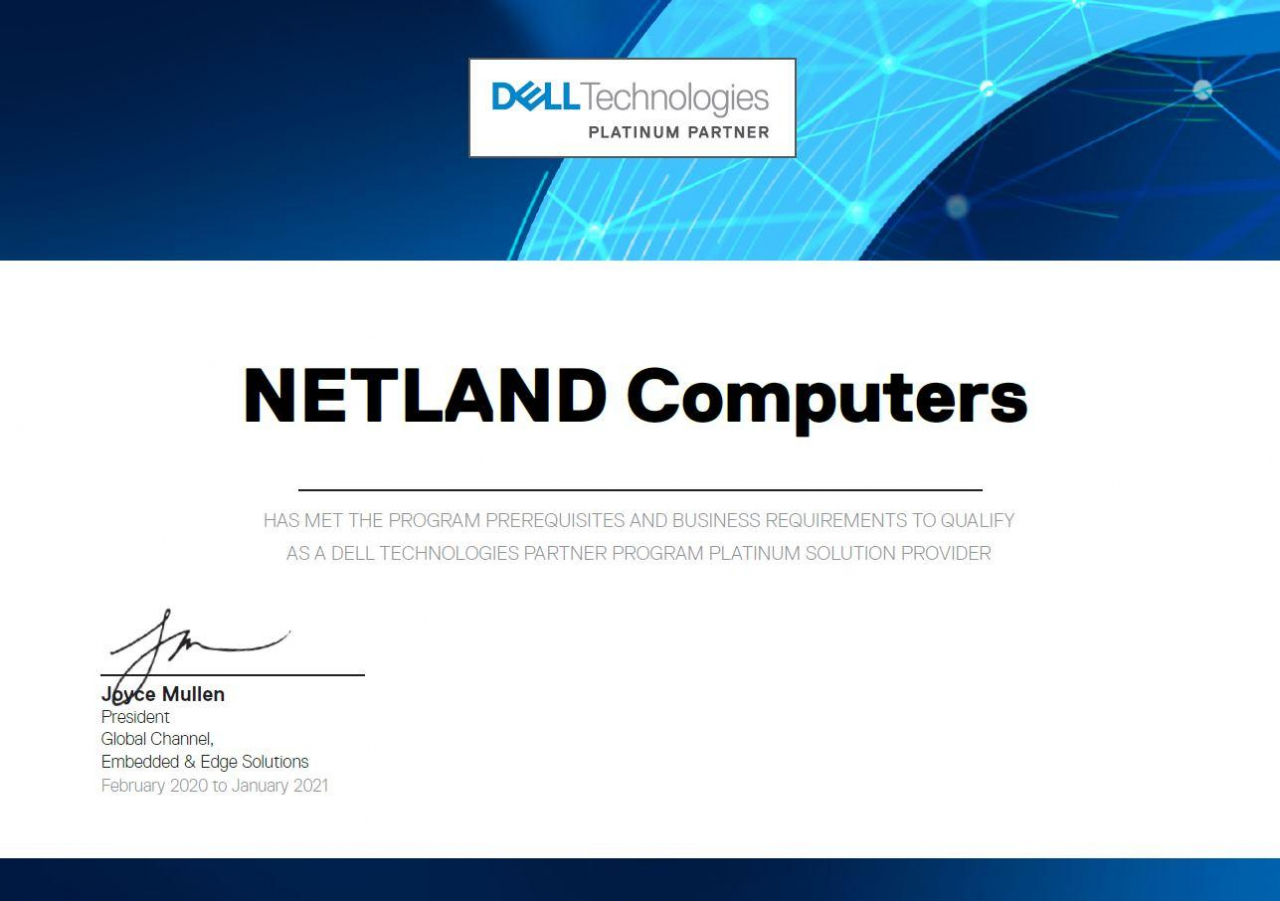 Netland Computers partnerem Platinum Dell Technologies