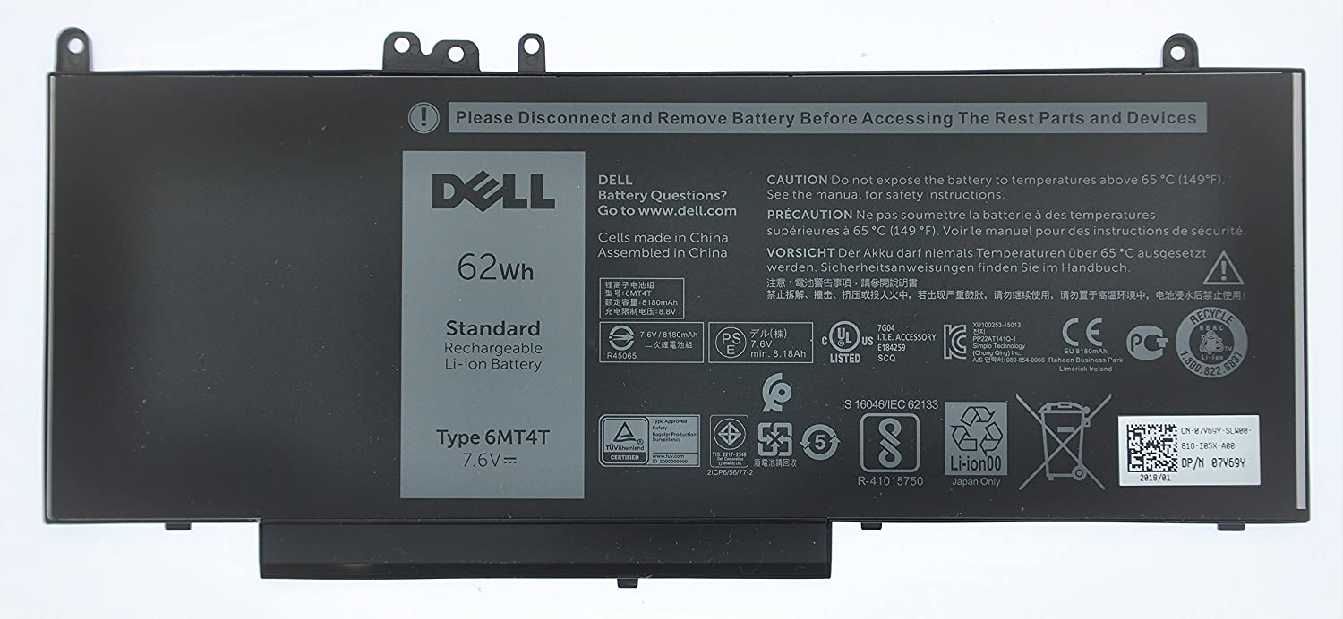 Bateria Dell 4-Cell 62Wh 7V69Y