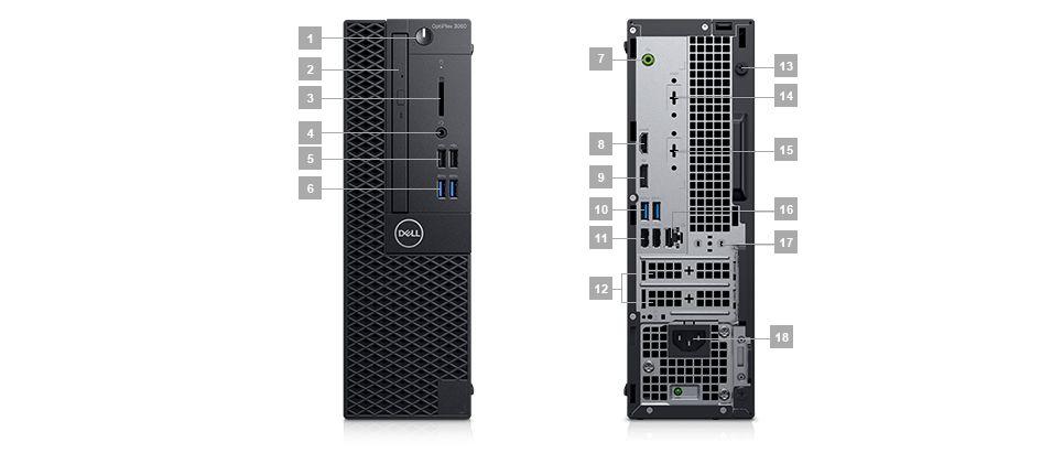 Komputer Dell Optiplex 3070 SFF - porty rozszerzeń