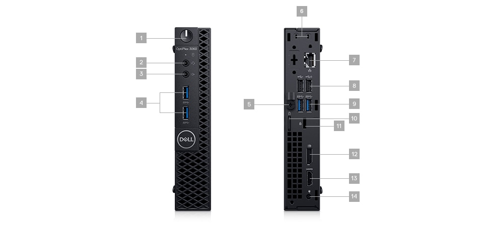 Komputer Dell Optiplex 3060 MFF - porty rozszerzeń