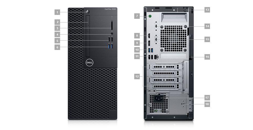 Komputer Dell Optiplex 3060 MT - porty rozszerzeń