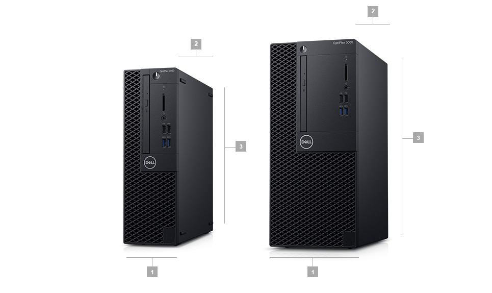 Komputer Dell Optiplex 3060 SFF i Mini Tower - wymiary obudowy